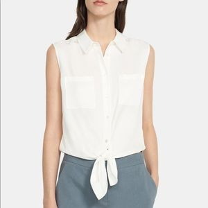 Theory Sleeveless Tie Front Shirt Silk Georgette